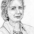 Hillary Clinton Pencil Portrait Poster by Romy Galicia