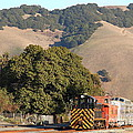Historic Niles Trains in California . Old Southern Pacific Locomotive and Sante Fe Caboose . 7D10817 Print by Wingsdomain Art and Photography