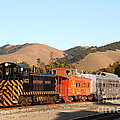 Historic Niles Trains in California . Old Southern Pacific Locomotive and Sante Fe Caboose . 7D10822 Poster by Wingsdomain Art and Photography