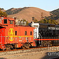 Historic Niles Trains in California . Old Southern Pacific Locomotive and Sante Fe Caboose . 7D10843 Print by Wingsdomain Art and Photography