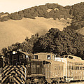 Historic Niles Trains in California.Southern Pacific Locomotive and Sante Fe Caboose.7D10819.sepia Poster by Wingsdomain Art and Photography