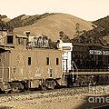 Historic Niles Trains in California.Southern Pacific Locomotive and Sante Fe Caboose.7D10843.sepia Poster by Wingsdomain Art and Photography