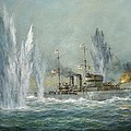 HMS Exeter engaging in the Graf Spree at the Battle of the River Plate Print by Richard Willis