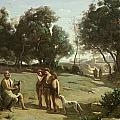 Homer and the Shepherds in a Landscape Print by Jean Baptiste Camille Corot