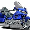 Honda Goldwing Blue Bike Print by Maddmax