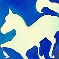 Horse in Blue and White Poster by Janel Bragg
