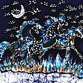 Horses Frolic on a Starlit Night Print by Carol Law Conklin