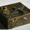 Hummingbird Box with Painted Patina - stonefly side Poster by Dawn Senior-Trask