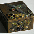 Hummingbird Box with Painted Patina - wild mint side Poster by Dawn Senior-Trask