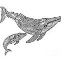 Humpback and Calf Poster by Carol Lynne
