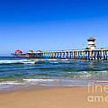 Huntington Beach Pier in Orange County California Print by Paul Velgos