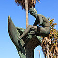 Huntington Beach Surfer Statue Poster by Paul Velgos