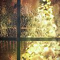 Icy window with holiday tree full of lights Poster by Sandra Cunningham