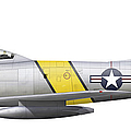 Illustration Of A North American F-86f Poster by Chris Sandham-Bailey