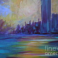 impressionism-city and sea Print by soho