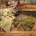 In a Rose Garden Print by Sir Lawrence Alma-Tadema