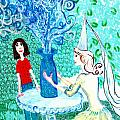 In the White Lady's Cave Print by Sushila Burgess