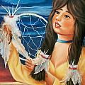 Indian Maiden with Dream Catcher Poster by Joni McPherson