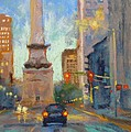 Indy Monument at Twilight Print by Donna Shortt