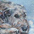 Irish Wolfhound resting Poster by Lee Ann Shepard