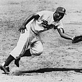 Jackie Robinson, Fielding Third Base Poster by Everett
