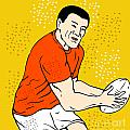 japanese rugby player passing ball Poster by Aloysius Patrimonio