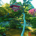 Japanese Tea Garden Temple Poster by Jerry Grissom