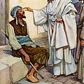 Jesus and the Blind Man Print by Arthur A Dixon