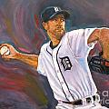 Justin Verlander Throws a Curve Print by Nora Sallows