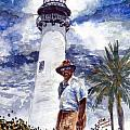 Keeper of the Cape Florida Lighthouse Print by Jon Schaubhut