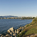 Kitsilano Beach And Vancouver Skyline Print by Michael S. Lewis