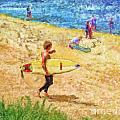 La Jolla Surfers Print by Marilyn Sholin
