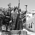 La Rogativa Sculpture Old San Juan Puerto Rico Black and White Poster by Shawn O'Brien