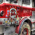 Ladder Truck 152 - In Remembrance of 9-11 Poster by Eddie Yerkish
