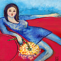 Lady In Blue Poster by Kimberly Van Rossum