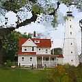 Lake Park Lighthouse Poster by Geoff Strehlow