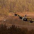 Lancaster Over The Dams Poster by Nigel Hatton