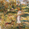 Landscape with a Woman in Blue Poster by Pierre Auguste Renoir