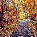 Leaf Covered Road Poster by David Lloyd Glover