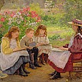 Lesson in the Garden Poster by Ada Shirley Fox