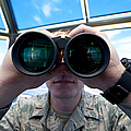 Lieutenant Uses Binoculars To Scan Print by Stocktrek Images