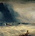 Lifeboat and Manby Apparatus going off to a stranded vessel making signal of distress Poster by Joseph Mallord William Turner
