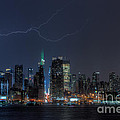 Lightning Over New York City IX Poster by Clarence Holmes