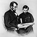 Lincoln Reading To His Son Print by Photo Researchers