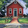 Little Red Schoolhouse Nature Center Print by Christine Camp
