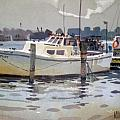 Lobster Boats in Shark River Print by Donald Maier