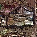 Log Cabin in Autumn Poster by Mindy Newman