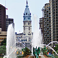 Logan Circle Fountain with City Hall in Backround Poster by Bill Cannon