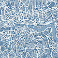 London Map Art Steel Blue Poster by Michael Tompsett