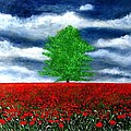 lonely tree amongst zillions of poppies by Marie-Line Vasseur